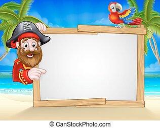 caricatura, plano de fondo, pirata, playa