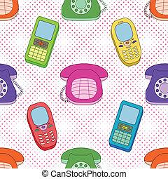 caricatura, plano de fondo, teléfonos, seamless