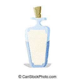 caricatura, poción, botella