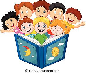 caricatura, poco, niño, libro de lectura