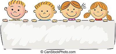 caricatura, poco, niños, tenencia, bandera