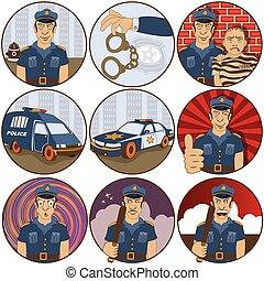 caricatura, polícia, adesivos