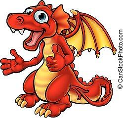 caricatura, polegares cima, dragão