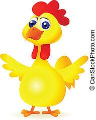 caricatura, pollo, divertido