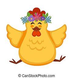 caricatura, pollo, polluelo, vector, divertido, carácter, con, flores, anillo, guirnalda