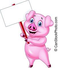 caricatura, porca, segurando, sinal branco