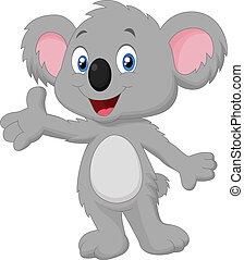 caricatura, posar, koala, lindo