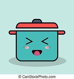 caricatura, pote, cozinhar, com, expressão facial, isolado, ícone, desenho