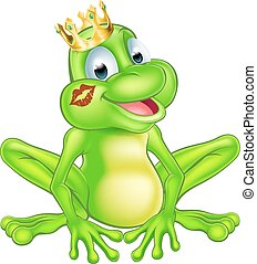 caricatura, príncipe rã