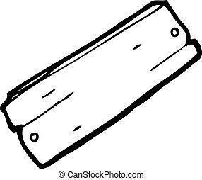 caricatura, prancha, de, madeira