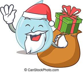 caricatura, presente, santa, desenho, pingo chuva, natal