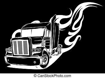 caricatura, pretas, semi, vetorial, fundo, caminhão, ilustração