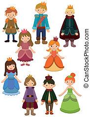 caricatura, princesa, príncipe, icono