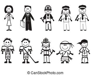 caricatura, profesiones, iconos