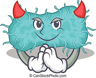 caricatura, prokaryote, diabo, bactérias, personagem, desenho, estilo, vestido