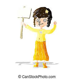 caricatura, protesta, hippie, niña, señal