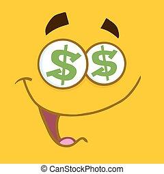 caricatura, quadrado, emoticons, com, dólar, olhos, e, sorrindo, expressão