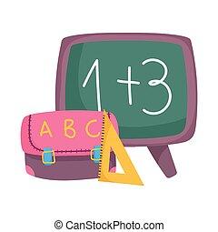 caricatura, régua, costas, quadro-negro, escola, mochila, triangulo