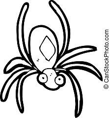 caricatura, radioactivo, araña
