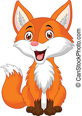 caricatura, raposa, cute