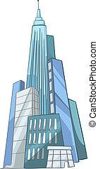 caricatura, rascacielos