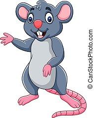 caricatura, ratón, ondulación, feliz
