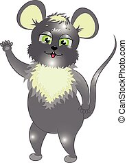 caricatura, rato, ilustração, vetorial, pequeno, cinzento