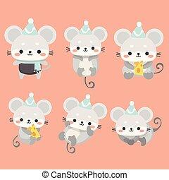caricatura, ratos, jogo, style.