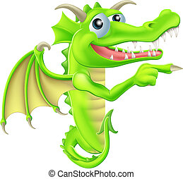 caricatura, redondo, dragón, señal, echar una ojeada