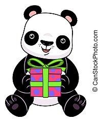 caricatura, regalo, panda
