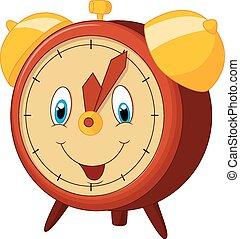 caricatura, relógio, alarme