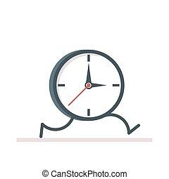 caricatura, relógio, running., apartamento, vetorial, ilustração, isolado, branco, fundo, eps10.