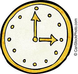 caricatura, relógio, símbolo