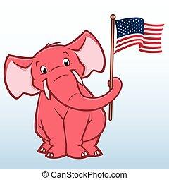 caricatura, republicano, elefante