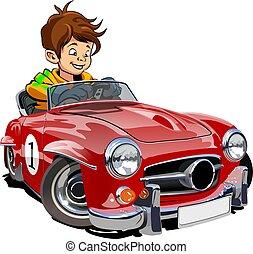 caricatura, retro, car, com, motorista