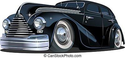 caricatura, retro, car