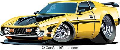 caricatura, retro, coche
