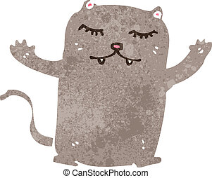 caricatura, retro, gato