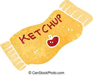 caricatura, retro, pacote, ketchup