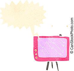 caricatura, retro, televisão