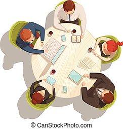 caricatura, reunião, conceito, negócio