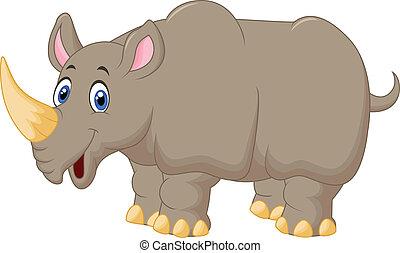 caricatura, rinoceronte, lindo
