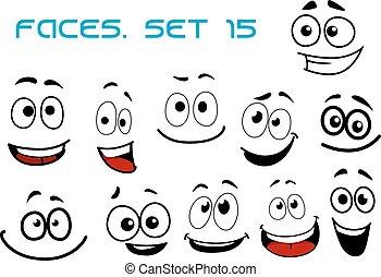 caricatura, rir, caras, com, googly, olhos