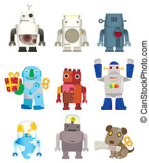 caricatura, robô, ícone