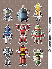 caricatura, robô, sticers
