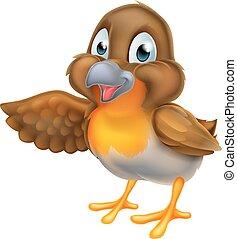 caricatura, robin, pássaro, apontar