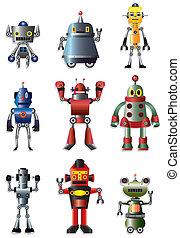 caricatura, robot, icono, conjunto