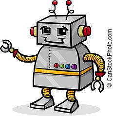 caricatura, robot, o, droid, ilustración