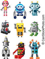 caricatura, robotes