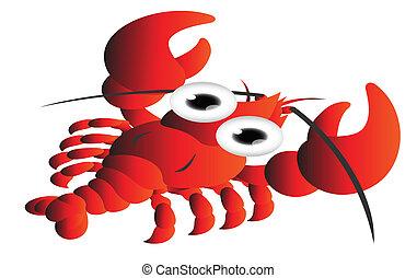 caricatura, rojo, camarón